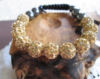 Gold & Charcoal Grey Bedazzeled beaded bracelet