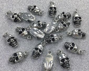 20 pcs Metal Skull Charms- Sugar Skull  Charms-Gothic skull Charms - 8mmx  13 mm