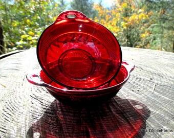 Rare Fenton Lincoln Inn Ruby Red Fruit/Desert Bowl with Handles - 1920s Lincoln Inn Ruby Red Bowls - Lincoln Inn Ruby Red by Fenton