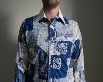 Retro All Over Print Blue Disco Button Up Shirt