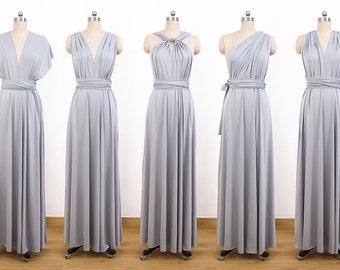 Gray Maxi Infinity Dress, Convertible Bridesmaid Dress, cheap prom dress, Evening Dress,Multiway Dress, Wrap Dress, formal Dress
