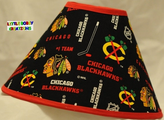 Chicago Blackhawks NHL Hockey Fabric Lamp Shade All Handmade