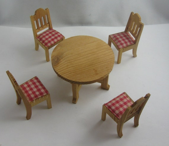 70s doll house dining room furniture 5 pieces presumably for 70s wooden couch