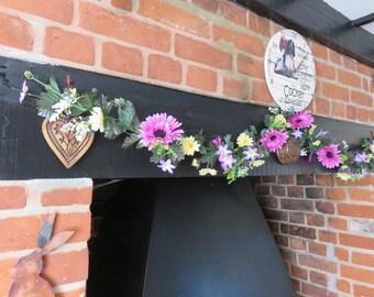 Gerbera flower garland, Artificial silk flower garland, Silk Daisy, Purple daisy hanging