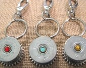 SHOTGUN SHELL Key Chain - Purse Charm - Bag Clip - Rear View Mirror Charms - Your Choice of Stone Color - Custom Orders Welcome