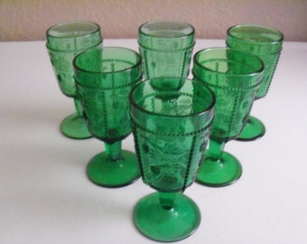 Footed Green Vintage Glasses With Grape & Beaded Design