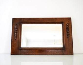 antique wood mirror, decorative wall mirror, wood frame mirror, beautiful antique hand carved wood hanging wall mirror with bevel, vintage
