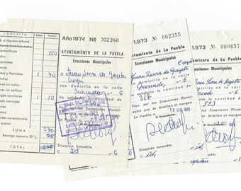 3 Vintage Ephemera Receipts from the city hall - P08