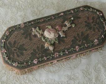 Antique French Pink Boudoir Box- Metallic Lace, Ecru Cotton Lace, Ribbonwork, Silk Ribbon Trim -  Gloves, Trinkets, Jewelry