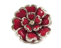 Huge Red and Silver Blooming Flower Stretch Ring