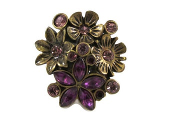 Colorful Rhinestone Flower Bouquet Ring - Size 6.5