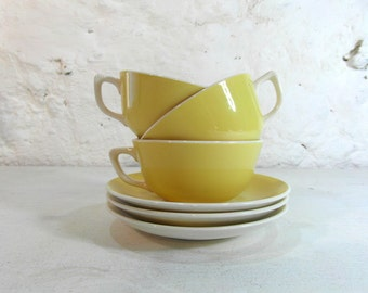 Villeroy and boch, 3 small tea cups and saucers, yellow and white, French vintage, French dinnerware, French country decor, french chic.