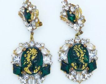 Green Glass Cameo Czech Rhinestone Dangle Clip Earrings