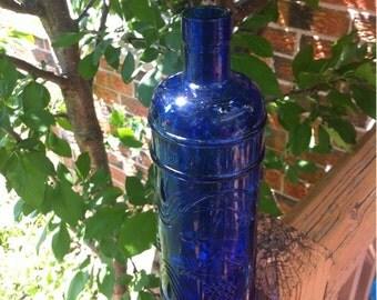 Cobalt Blue Glass Wine Bottle Bunch Grapes. Decorative Wedding Collectible Cobalt Blue Glass Bottle. Cobalt Blue Glass Vase Decanter