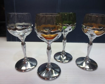 4 Farber Bros Krome Kraft Chrome Green, Amber And Clear Cambridge Glass Goblets Art Deco
