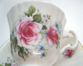 Royal Grafton White Tea Cup & Saucer ,White Floral Tea cup and Saucer.