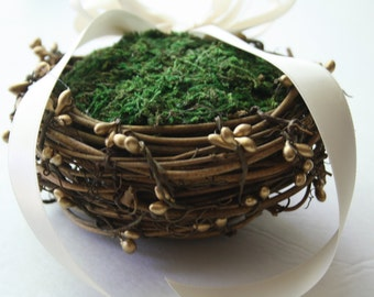 Ring bearer pillow Rustic ring box bird nest ring bearer Wedding ring box Rustic wedding ring bearer moss nest Woodland ring holder