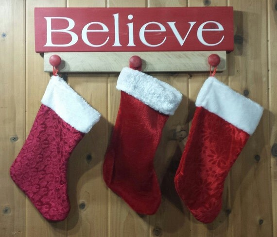 Believe christmas stocking holder decor red