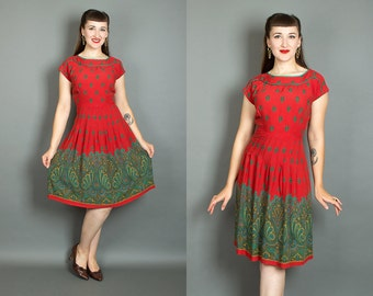 Vintage 60s Paisley Border Print Day Dress | 1960s Red Green Rayon Sundress (medium)