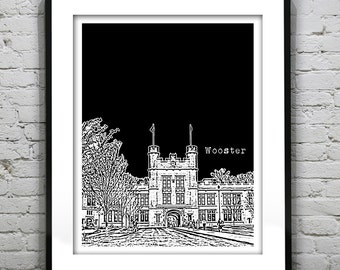 Wooster Ohio Poster Print Art City Skyline OH