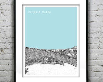Crested Butte Colorado Skyline Poster Art Print Uley's Cabin CO Version 1