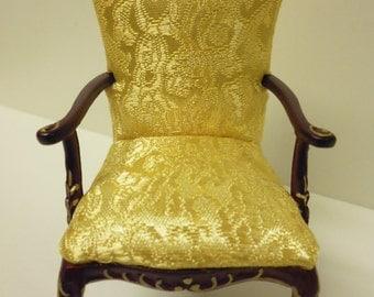 Quality 1/12th Dolls House Furniture Mahogany Gilt Chair 04053  1/3 off