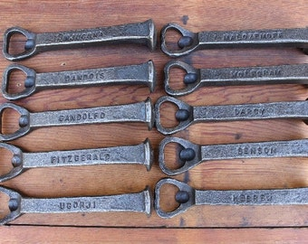 Personalized Bottle Openers  - Hand Forged Railroad Spike Bottle Openers - Groomsmen Gifts - Set of 10 - Forged by Blacksmith Gerald Boggs