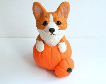 Autumn Corgi Pumpkin Sculpture by Raquel at theWRC hand sculpted polymer clay Collectible DOG
