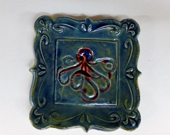 Blue Green Octopus Soap Dish, Ring Holder, Tapas Plate, Spoon Rest