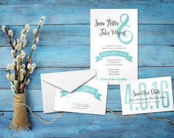 "Personalized ""Banner"" Wedding Invitation Set 