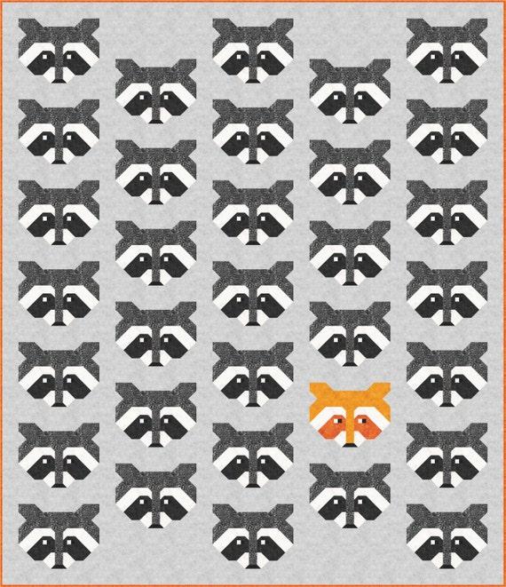 Raccoon Quilt Pattern, PDF, Instant Download, modern patchwork, raccoon, animal, lap quilt, mini quilt, baby quilt, twin quilt, full quilt