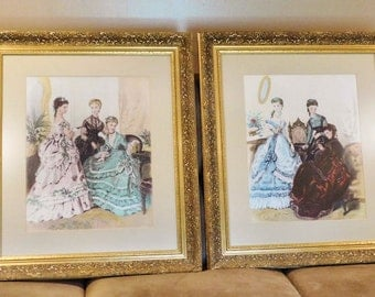 Amazing Vintage French Paris Ladies Victorian Fashion Scenes Giclee Prints Pair  Ornate Gold Solid Wood Frames French