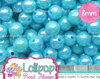 8mm TURQUOISE BLUE AB Solid Acrylic Beads Iridescent Round Opaque Aurora Borealis Plastic Frozen Beads Gumball Beads Bubblegum Bead