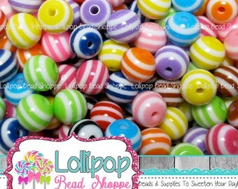 STRIPED Beads 8mm Beads MIX 150-ct Gumball Beads Stripe Resin Beads Round Bead Plastic Stripes Bead Bubblegum Beads Bubble Gum Bead