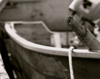 Old Fishing Boat. Photography. Black and White. Canvas print.