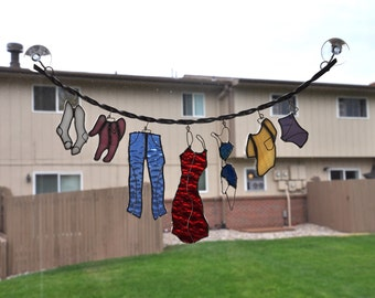 "Stained Glass Clothesline - Large Size, 17"" Hanging System"