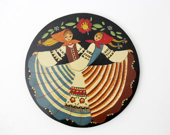 Vintage wall decor from Belarus // Russian folk art // paint on wood wall decor