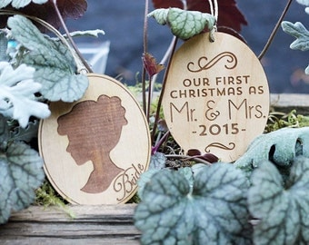 Bride & Groom 1st Christmas Set // Old Fashioned Silhouette