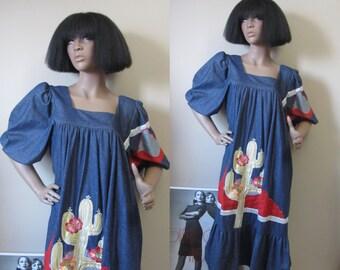 1970s Romana Rull denim dress | 70's boho hippie rare designer vintage | M-L
