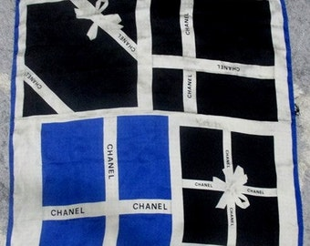 Vintage Chanel Exclusive Ribbon Pattern with CC Interlocking Texture 100% Silk Scarf Made in Italy - Free Shipping