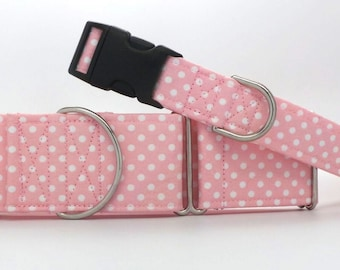 Soft Pink Polka Dots Dog Collar (Martingale, Buckle or Tag)