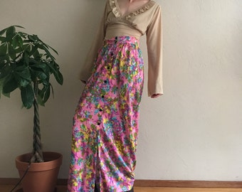 70s Neon Floral Maxi Skirt
