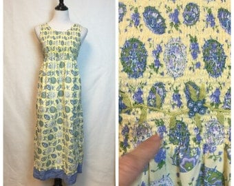 Vintage April Cornell Dress/ 80's smocked Dress