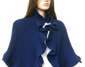 Navy Blue Shawl, Hand Knit Wool Shawl with Three Sides Ruffle Shawl Wrap Shrug, Princess Kate Middleton Style Shawl