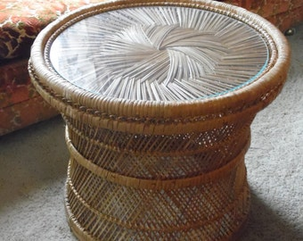 Wicker Table, Side Table, Coffee Table, Wicker, Table, Vintage, Boho, Rattan, Nightstand, 1980's, Furniture, Large, Round Table