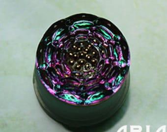 CZECH GLASS BUTTON: 14mm Handpainted Floral Motif Glass Button, Pendant, Cabochon (1)
