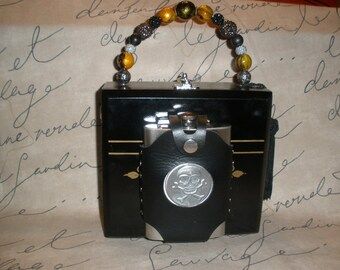 Gasparilla, Pirate, Skull Flask Cigar Box Purse, Black, Wooden, New, Fully Functional!