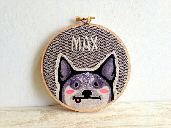 Custom Dog Portrait Embroidery Hoop