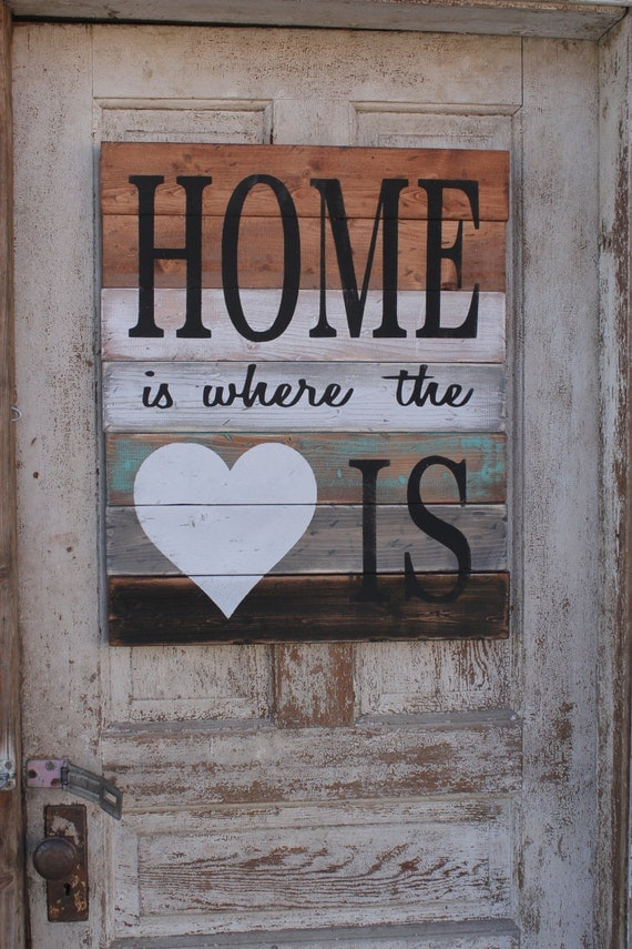 items similar to home is where the heart is wood sign home decor signs pallet style. Black Bedroom Furniture Sets. Home Design Ideas
