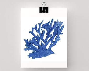 REPRODUCTION PRINT of coral in blue accents - print of my original watercolour painting